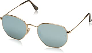RAY-BAN RB3548N Hexagonal Flat Lenses Sunglasses, Shiny Gold/Grey Flash, 54 mm