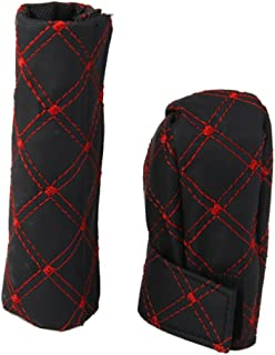 Generic PU Leather Gear Shift Knob and Handbrake Cover Set Black and Red