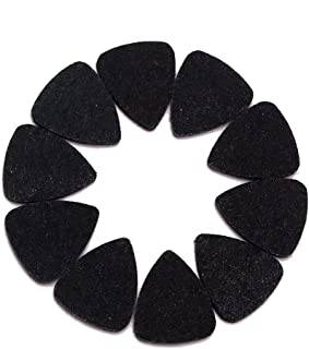 Flameer 10pcs Wool Felt Picks Ukulele Guitar Parts 3MM Mandolin Plectrums Pick Black