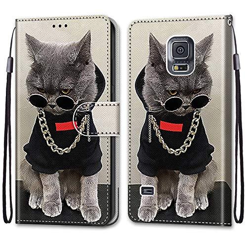 i-Case Funda Cartera para Samsung Galaxy S5, Billetera Mujer Compatible para Samsung Galaxy S5 PU Case Carcasa Flor de Encaje Diseño Libro Plegable Cartera magnético Case de Teléfono,Collar Gato
