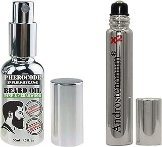 PheroCode Premium Beard Oil med feromon Androstenonum med pump 30 ml & ANDROSTENONUM X2 100% feromon för män 8 ml roll-on