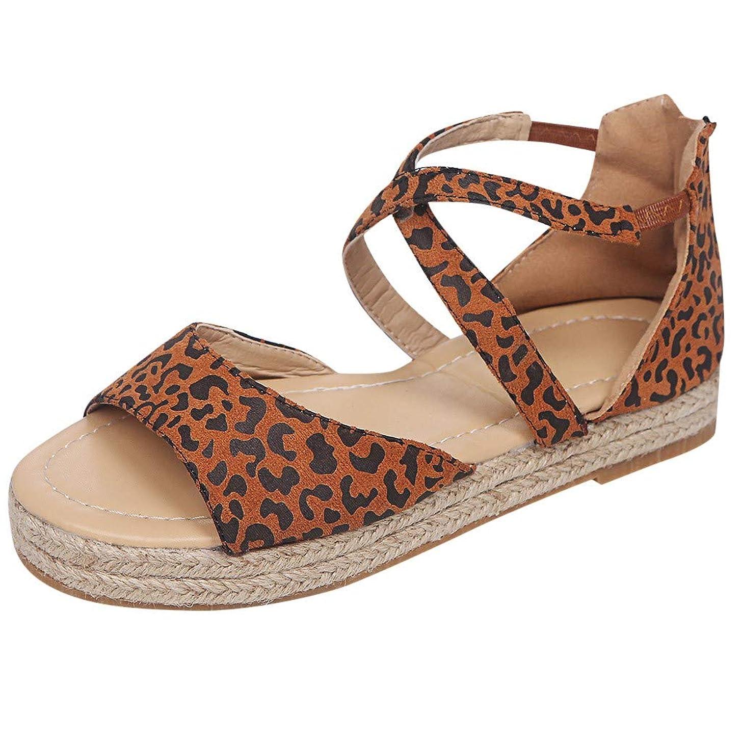 Nadition Women Sandals ??Leopard Print Espadrille Wedges Platform Sandals Retro Peep Toe Cross Strap Flat Sandals