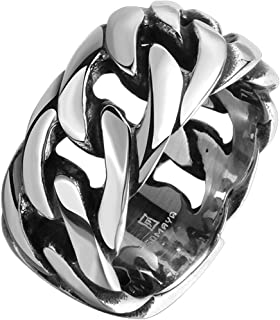 Men's 316L Stainless Steel Openwork Spinner Link Chain Ring Band Vintage Gothic Tribal Biker Silver Black