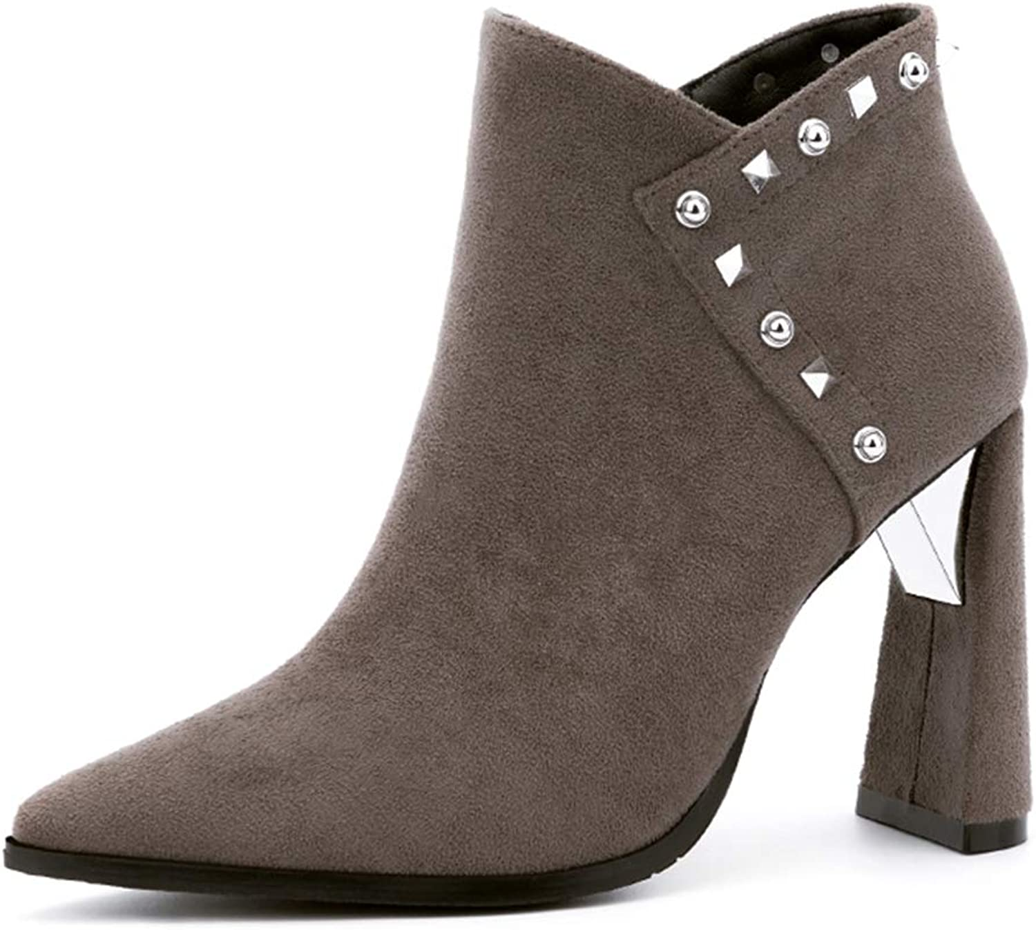 CYBLING Women Fashion High Heel Ankle Boots Rivets Pointed Toe Side Zipper Winter Warm Short Booties