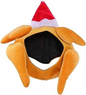Amosfun Christmas Turkey Hat Beanie Santa Hat Top Cap Photo Prop Funny Headwear Fancy Dress for Xmas Thanksgiving Performance Cosplay Costume Party