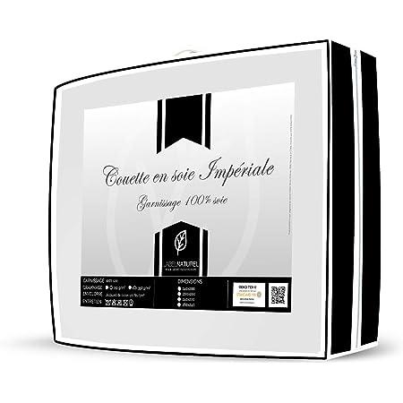 Label Naturel Couette Eté Impériale Soie Naturelle 150g Anti-Transpiration idéale pour la Saison Chaude ou Les Chambres chauffées à la Saison Froide 150 g/m²