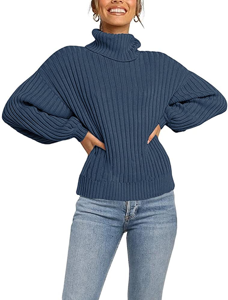 Jollycode Womens 1 year warranty Turtleneck Long Challenge the lowest price of Japan ☆ Sleeve Knit Sweater Chunky Casu