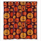 KXMDXA Halloween Kürbis Jack O Laterne wasserdichter Polyester-Stoff Duschvorhang 152,4 x 183,9 cm