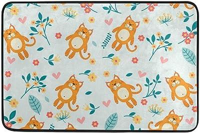 Cute Cats Floral Flowers Kids Cartoon Painting Doormats Floor Mats Shoe Scraper for Home Indoor Entrance Way Front Door