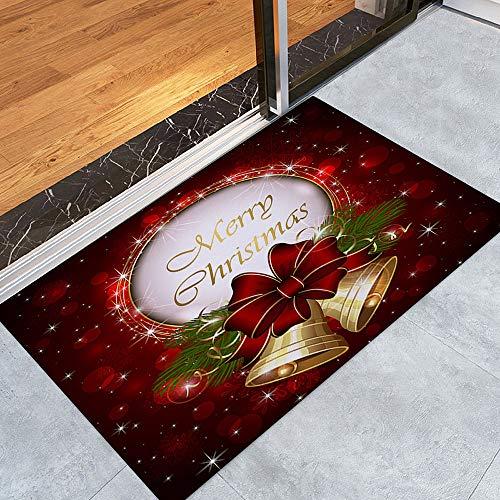 About1988 Weihnachten Home rutschfeste Tür Fußmatten Hall Teppiche, Schmutzfangmatte Fußmatte Aussen Innenbereich Bodenschutzmatte Weihnachten Willkommen Teppich (B)