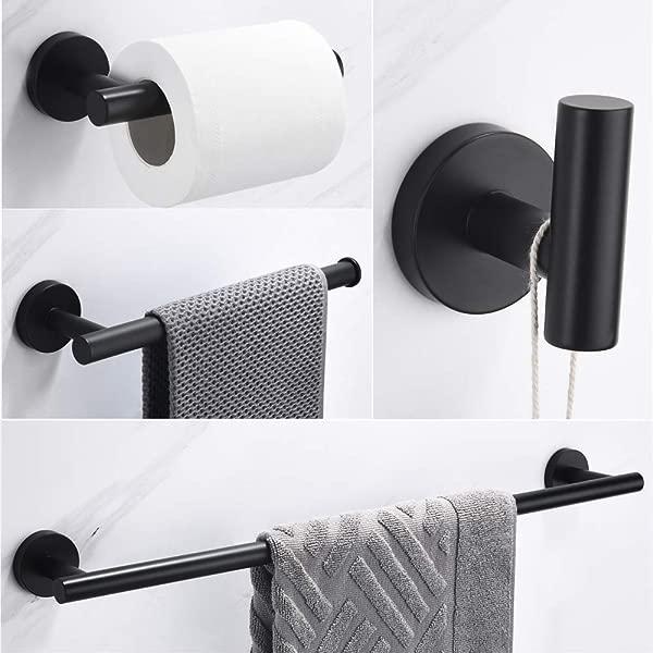 VELIMAX 18 8 Stainless Steel 4 Piece Bathroom Hardware Set Modern Round Bath Towel Bars Set Wall Mount Matte Black 23 6 Inches