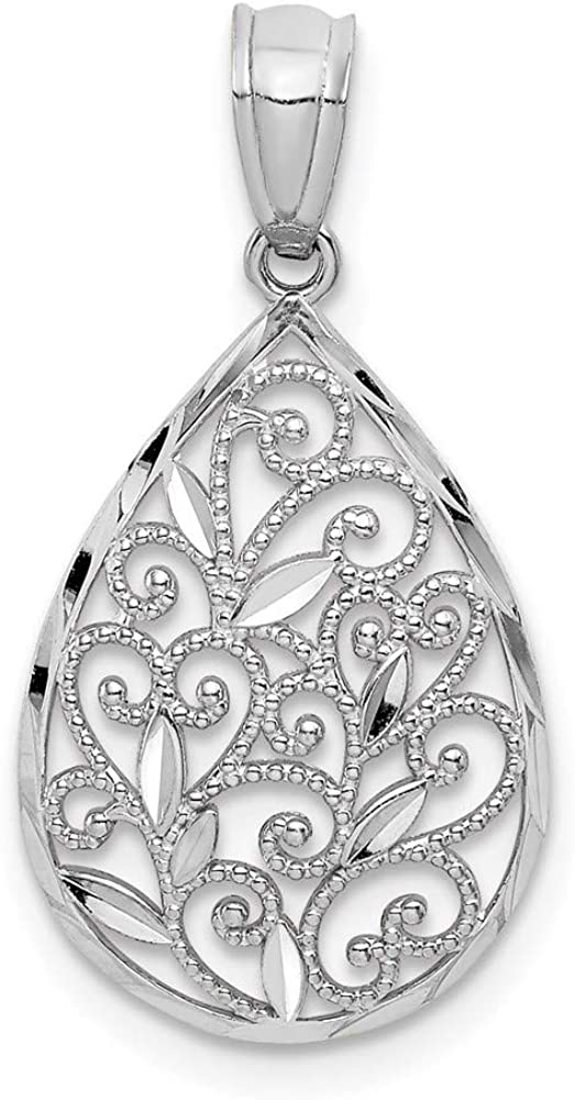 14k White Gold Solid Polished & Textured Small Filigree Teardrop Charm Pendant