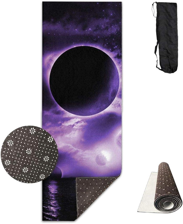 Yoga Mat Non Slip 24  X 71  Exercise Mats 3D Dark Moon Premium Fitness Pilates Carrying Strap