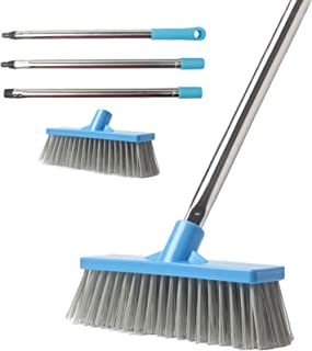 CLEAN LEADER Stiff Bristle Floor Scrub Brush,Adjustable Stainless Steel Handle, 8.7 inches Multi-Surface Stiff Brush for wall, Kitchen, Bathroom And Deck.