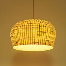 XIAOXY Antique Wood Lampshade Chandelier Bamboo Wicker Shade Rattan Pendant Lights Primitive Rustic Asian Ceiling Lamp Bedroom Bedside E27 Hanging Light Home Decoration Lighting