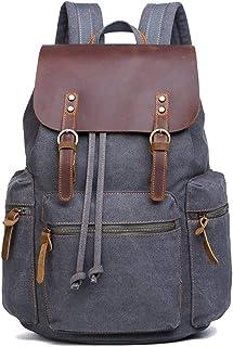 LYDZ-Taschen Gewachst wasserdichte Segeltuch Wanderrucksack Big Kapazität Außerhalb Collegetaschen Mode Color : Gray, Size : 29  16.5  42cm