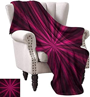 WinfreyDecor Hot Pink Living Room/Bedroom Warm Blanket Abstract Starburst Design Radial Lines Vibrant Colored Beams Futuristic All Season for Couch or Bed 70