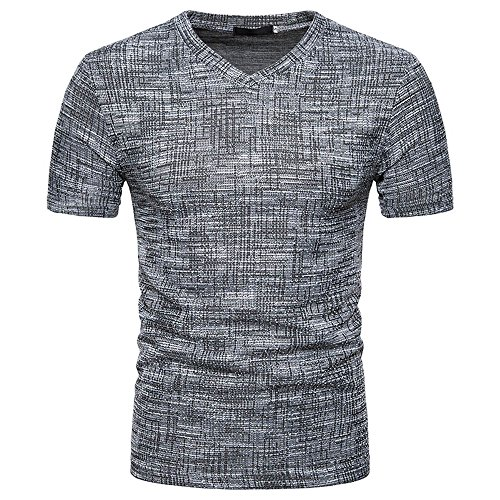Men's Summer Casual SOID Hole V Neck Pullover T-Shirt Top Blouse