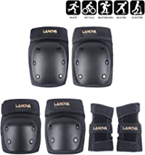 LANOVAGEAR Knee Elbow Pads with Wrist Guard Adjustable Toddler to Adult 6PCS Protective Gear Set for Multi Sports Cycling Bicycle Skateboarding