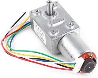 DC Worm Gear Motor 12V High Torque Reduction Gear Box with Encoder Srong Self-locking 6mm Output Shaft(100RPM)