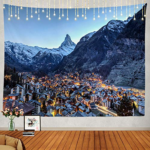 Shrahala Adventure Tapestry, Famous Swiss Evening Winter Adventure Beautiful Wall Hanging Large Tapestry Psychedelic Tapestry Decorations Bedroom Living Room Dorm(51.2 x 59.1 Inches, Blue Winter)
