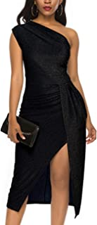 Womens Sleeveless one Shoulder Ruched High Slit Elegant Evening Cocktail Party Dresses