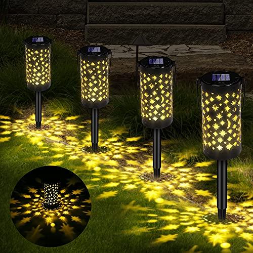 Solarleuchte Garten, Vegena 4 Stück Solar Gartenleuchte für Außen, Solar Lampe mit Erdspieß Laterne für Draußen IP65 Wasserdichte Dekoration Licht für Außen Garten Hofwege Patio Rasen Terrasse