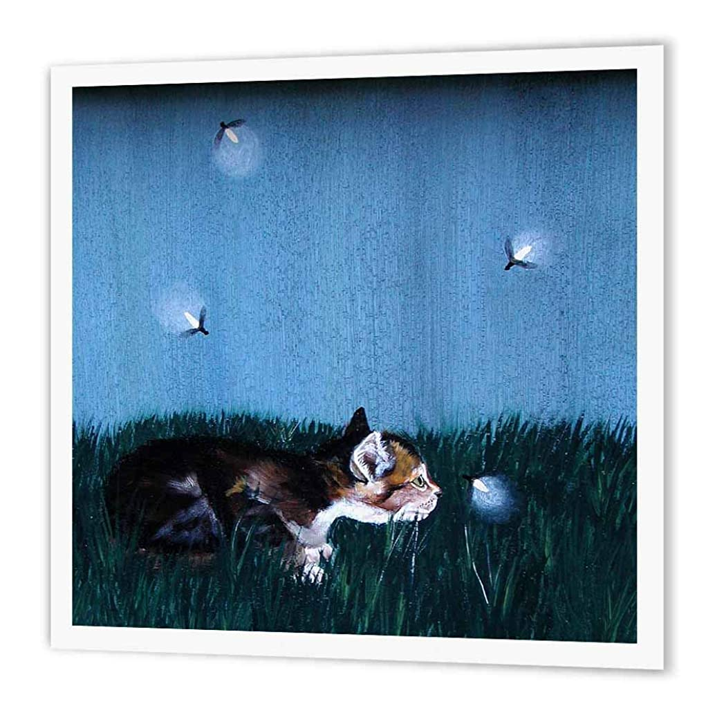 3dRose ht_44351_3 Side View of Kitten in The Grass Looking at Lightning Bugs-Iron on Heat Transfer Paper for White Material, 10 by 10-Inch