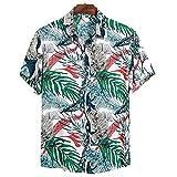 SCLDX Camisa Hawaiana para Hombre - Camisa De Playa De Verano Funky Casual Camisa De Manga Corta con Botones Hojas Tropicales Blusas Estampadas con Cuello Vuelto Blusas para Fiestas De Vacaciones