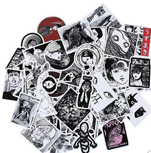Ito Junji Sticker Tomie Whirlpool Dark Wind Skateboard Phone Sticker Painting Notebook Luggage Sticker 55Pcs