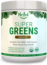 Super Greens | #1 Green Veggie Superfood Powder | 30 Servings | 20+ Whole Foods (Wheat Grass, Spirulina, Chlorella, Barley), Probiotics, Fiber & Enzymes | 100% USDA Organic, Non-GMO, Vegan Supplement