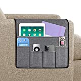 Joywell Sofa Armrest Organizer, Remote Holder on Couch & Chair Arm, 5 Pockets for TV Remote Control, Magazine, Books, Cell Phone, iPad, Grey