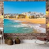 YDyun Tapiz El Tapiz Tapices para Colgar en la Pared Decoración del hogar Tapiz de Playa de Tela Colgante de Paisaje Junto al mar