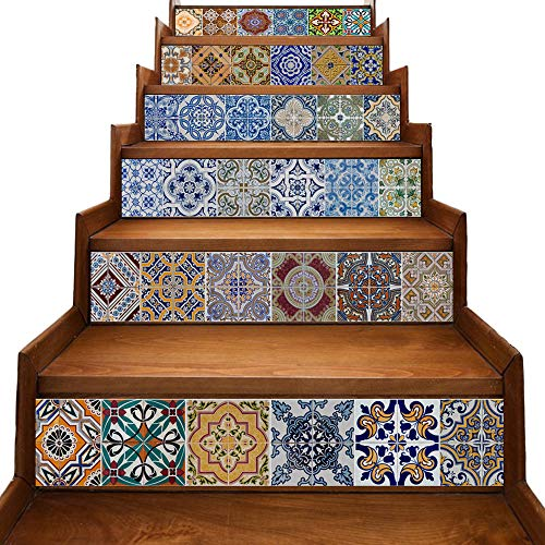 yazi Stair Stickers Decals Peel and Stick Viny Tile Backsplash Stair Brick Pattern Stair Riser Refurbished Stair Treads Decals Removable Staircase murals Christmas Decorate 7''W x 39''L (Set of 6)