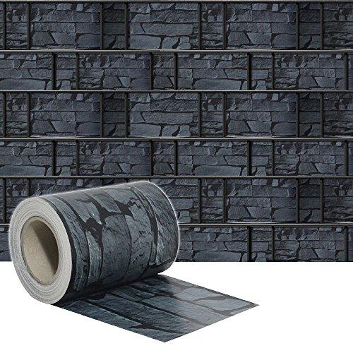 SAILUN® 35m x 19cm Sichtschutzstreifen mit 20 x Befestigungsclipse Sichtschutz Streifen Doppelstabmattenzaun PVC Blickdicht für Einzel- und Doppelstabmatten geeignet (35m x 19cm, Schiefer)