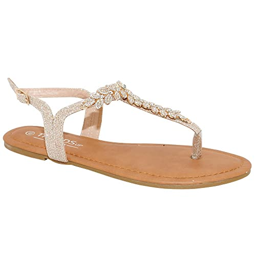 cd9db0e102a TRENDSup Collection Womens T-Strap Buckle Flats Sandals