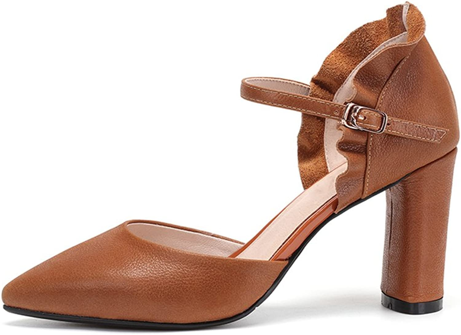 YUBIN Summer Spring Youth Sandals Women's Baotou shoes Wild Leather Buckle with Pointed Hollow Hollow High Heels (color   Brown, Size   38)