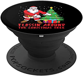 Flossing Around The Christmas Tree Santa Claus PopSockets Grip and Stand for Phones and Tablets