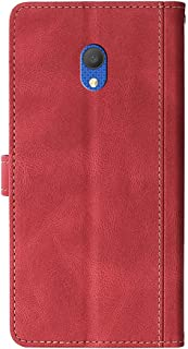 Retro folio flip läderfodral för Alcatel 1c 2019, damplånbok skydd magnetisk stängning korthållare ställ stöttålig elegant...