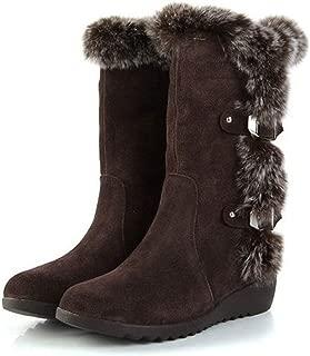 Autumn Winter Women Mid Calf Slip-Resistant Waterproof Snow Boots Warm Rabbit Fur Wedge Boots(0 0)