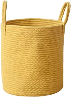 Mojesse Natural Wind Cotton Rope Woven Storage Baskets Household Goods Toy Storage Bag Candy Storage Bins Baby Laundry Hamper and Diaper Box with Handles.
