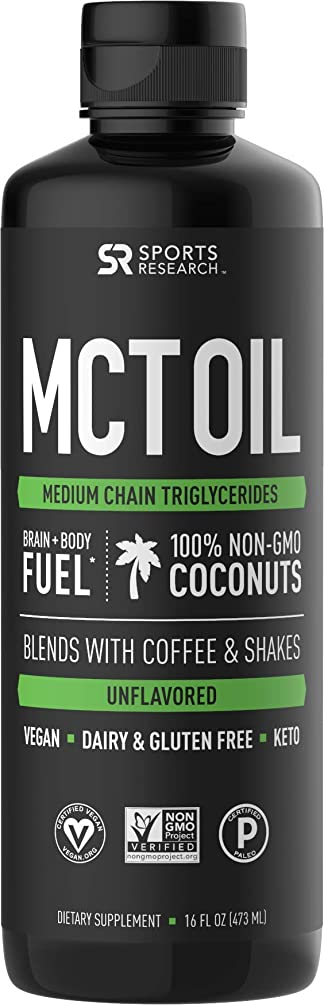 Premium MCT Oil derived only from Non-GMO Coconuts - 16oz BPA Free Bottle | Great in Keto Coffee,Tea, Smoothies & Salad Dressings | Non-GMO Project Verified & Vegan Certified (Unflavored)