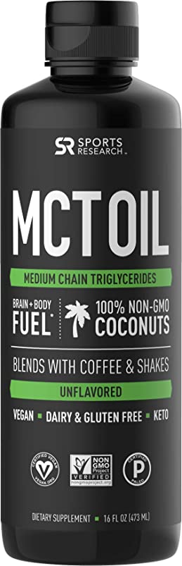 Premium MCT Oil derived only from Non-GMO Coconuts - 16oz BPA Free Bottle | Great in Keto Coffee,Tea, Smoothies & Salad Dressings | Non-GMO Project Verified & Vegan Certified (Unflavored) vizdrqlz074681