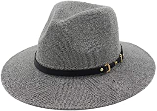 Unisex Panama Hat with Black Band Straw Hat for Men Women Classical Jazz Cap Wide Brim Fedora Summer Sun Beach Cap` TuanTuan (Color : Gray, Size : 56-58CM)