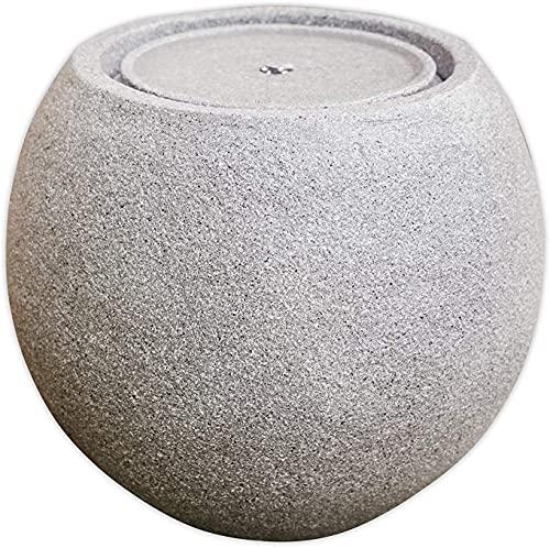 TheHouseOfBamboo Outdoor Solar Fountain Zen Ball Concrete Textured with Led Light Silent Pump Outdoor for Garden Decor Meditation Area - Grey Concrete Color (Concrete Grey)