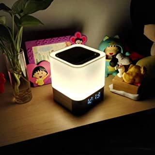 Night Light - 5 in 1 Bedside Lamp with Bluetooth Speaker, Touch Control & 4000mAh Battery, 12/24H Digital Calendar Alarm Clock, Support TF and SD Card, Best for Bedrooms Kids