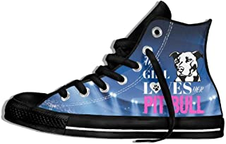 This Girl Loves Her Pit Bull High Top Sneaker Canvas Shoes Men's Girls