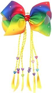 ZOONAI Women Teen Girls Elastic Twist Hair Accessories Big Hair Bow Ponytail Holder Hair Tie (Yellow)