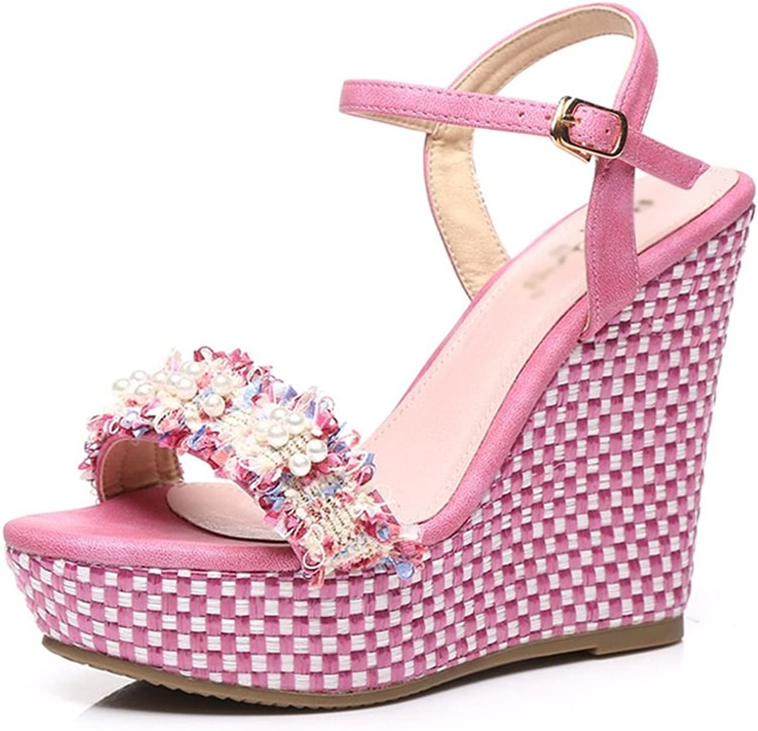 New Summer Slope with Women's sandals high-Heeled Waterproof Platform shoes Pearl Decorative Fashion Small Size Women's shoes (high 9cm and high 12cm) (color   12cm high, Size   39)