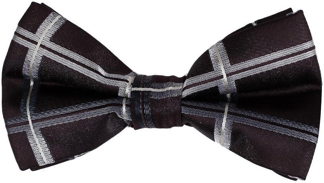 Dan Smith DBD7C04C Brown Easter Sunday Gift Idea Checkered Wedding Microfiber Pre-Tied Bow Ties Perfect Fashion